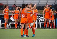 Rose Keddell. Midlands celebrate. Midlands v Auckland 3rd place game. National Hockey League Finals Day action, National Hockey Stadium, Wellington, New Zealand. Sunday 23 September 2018. Photo: Simon Watts/www.bwmedia.co.nz/Hockey NZ