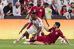 Saif Rashid Alshemeili of United Arab Emirates (L) fights for the ball with Karim Boudiaf of Qatar (R) during the AFC Asian Cup UAE 2019 Semi Finals match between Qatar (QAT) and United Arab Emirates (UAE) at Mohammed Bin Zaied Stadium  on 29 January 2019 in Abu Dhabi, United Arab Emirates. Photo by Marcio Rodrigo Machado / Power Sport Images