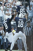 State College, PA - 10/12/2013:  PSU WR Brandon Felder (85) is congratulated by Allen Robinson (8) and Jesse James (18) after scoring a touchdown in the first half.  Felder caught 6 passes for 97 yards and 2 touchdowns.  Penn State defeated Michigan by a score of 43-40 in 4 overtimes on Saturday, October 12, 2013, at Beaver Stadium.<br /> <br /> Photos by Joe Rokita / JoeRokita.com