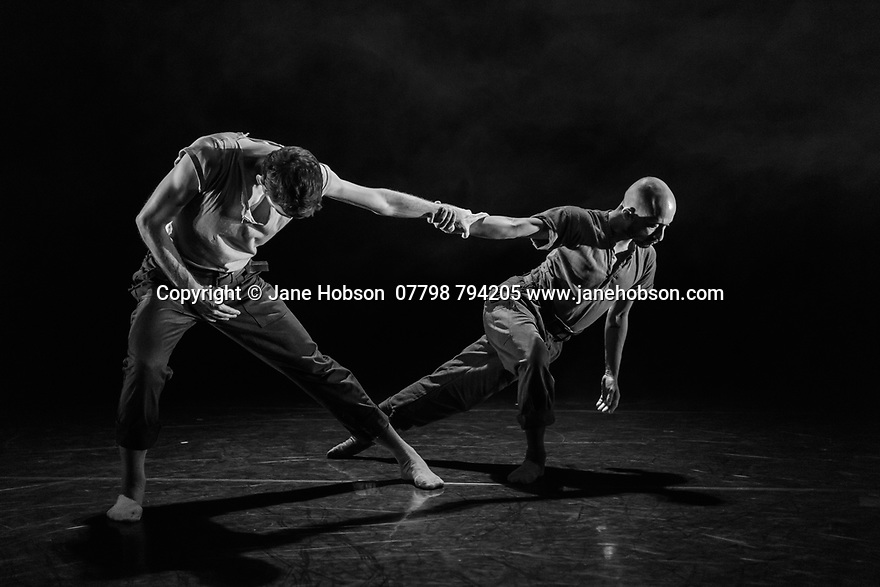 "London, UK. 29.11.2018. ""Man To Monk"", dance artist Mavin Khoo's latest piece, gets its world premiere in the Lilian Baylis Studio, at Sadler's Wells Theatre. Man to Monk is a four year project tracing the performative shift of dance artist Mavin Khoo. Partnered with a guest dancer for two new works created by commissioned choreographers, Khoo intends to challenge both Western and Eastern ideas about dance creation thourgh a 'lived experience' creative process. The choreographer for this piece is Carlos Pons Guerra, and the guest dancer is Victor Callens. Photograph © Jane Hobson."