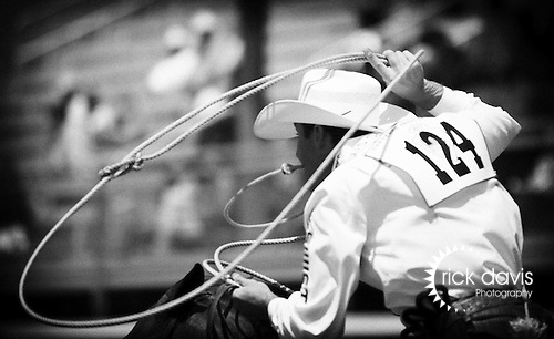 A tie down roper swings his lariat to build a loop as he comes out of the roping box during Professional Rodeo Cowboy Association competition at the annual Cheyenne Frontier Days Rodeo in Cheyenne, Wyoming.