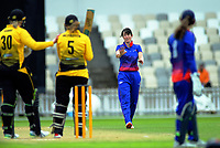 Auckland's Holly Huddleston apologises for a bouncer during the women's Hallyburton Johnstone Shield cricket match between the Wellington Blaze and Auckland Hearts at Basin Reserve in Wellington, New Zealand on Sunday, 17 November 2019. Photo: Dave Lintott / lintottphoto.co.nz