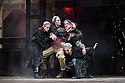 """Shakespeare's Globe presents """"Macbeth"""", by William Shakespeare, directed by Iqbal Khan.  Picture shows: Terence Keeley (Bloody Captain), Nadia Albina (Wyrd Sister), Danielle Bird (Wyrd Sister), Scarlett Brookes (Wyrd Sister), Kerry Gooderson (wyrd Sister)."""