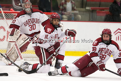 Brayden Jaw (Harvard - 10), Conor Morrison (Harvard - 38) - The Harvard University Crimson defeated the Colgate University Raiders 4-1 (EN) on Friday, February 15, 2013, at the Bright Hockey Center in Cambridge, Massachusetts.