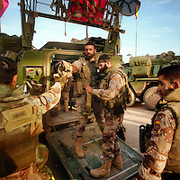 Spanish ISAF soldiers arrive back to the Herat PRT (Provincial Reconstruction Team) after a 12 hour patrol in Herat Province. ISAF (the International Security Assistance Force) is a peacekeeping mission affiliated to the United Nations (UN) and NATO.