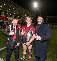 Tuesday 7th January 2020 | MMW Junior Cup Final<br /> <br /> Ulster Branch President Gary Leslie, Enniskillen captain Gareth Beatty and Jan Cunningham representing sponsors Millar McCall Wylie after the Millar McCall Wylie Junior Cup Final between Armagh 2s and Enniskillen at Kingspan Stadium, Ravenhill Park, Belfast, Northern Ireland. Photo by John Dickson / DICKSONDIGITAL