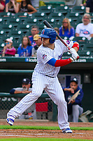 Iowa Cubs catcher Victor Caratini (17) at bat during a Pacific Coast League game against the Colorado Springs Sky Sox on June 22, 2018 at Principal Park in Des Moines, Iowa. Iowa defeated Colorado Springs 4-3. (Brad Krause/Four Seam Images)