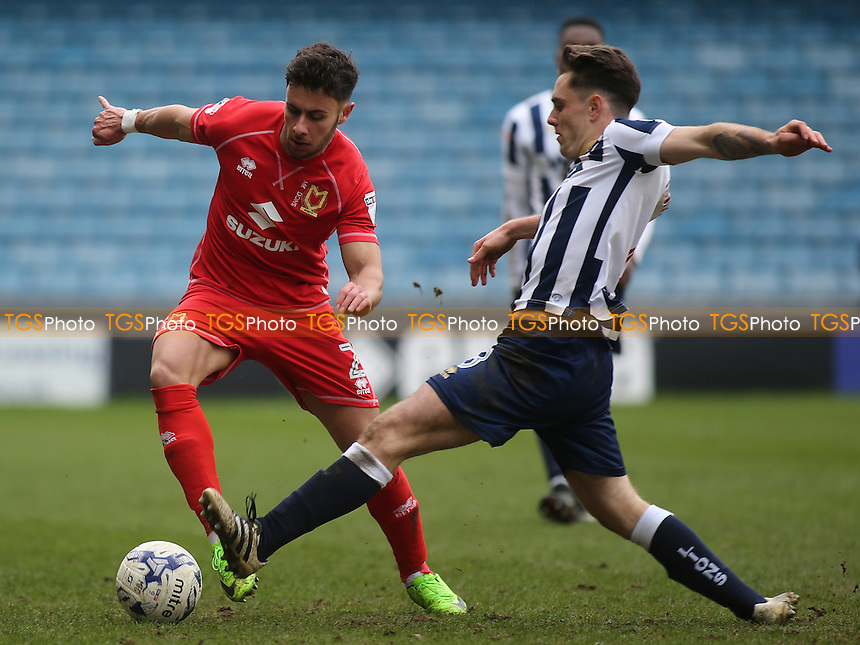 George Baldock of MK Dons takes the ball past Millwall's Ben Thompson during Millwall vs MK Dons, Sky Bet EFL League 1 Football at The Den on 4th March 2017