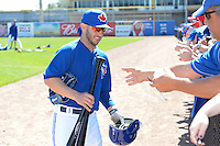 Toronto Blue Jays infielder Jonathan Diaz (1) signs autographs before a spring training game against the Pittsburgh Pirates on February 28, 2014 at Florida Auto Exchange Stadium in Dunedin, Florida.  Toronto defeated Pittsburgh 4-2.  (Mike Janes/Four Seam Images)