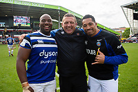Beno Obano, Toby Booth and Anthony Perenise of Bath Rugby pose for a photo after the match. Gallagher Premiership match, between Leicester Tigers and Bath Rugby on May 18, 2019 at Welford Road in Leicester, England. Photo by: Patrick Khachfe / Onside Images