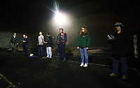 "Pictured:<br /> Re: Dress rehearsal of ""We'Re Still Here"", a play created by Rachel Trezise, Common Wealth and the National Theatre Wales about steelworkers, which will be performed in Byass Works, a disused industrial unit, in Port Talbot, south Wales, UK."