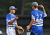 Matt Laurelli #2, Motus Prospect Academy pitcher, left, gets congratulated by #22 Matt Malone after their team's 11-4 win over the Tri City Bombers in the 16U Independence Day Tournament final at Baseball Heaven in Yaphank on Monday, July 4, 2016. Laurelli pitched 4 2/3 innings of scoreless relief and was the winning pitcher of record.