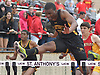 Bryant Lewis of St. Anthony's makes his final jump on his way to victory in the boys 110 meter high hurdles during the Nassau-Suffolk CHSAA track and field league championships at St. Anthony's High School on Saturday, May 20, 2017. He posted a time of 15.59 in the event.