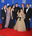 David Heyman, Shannon McIntosh, Margaret Qualley, Quentin Tarantino, Brad Pitt, Julia Butters, and Leonardo DiCaprio 143 poses in the press room with awards at the 77th Annual Golden Globe Awards at The Beverly Hilton Hotel on January 05, 2020 in Beverly Hills, California.