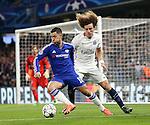 Chelsea's Eden Hazard tussles with PSG's David Luiz<br /> <br /> - UEFA Champions League - Chelsea vs Paris Saint Germain - Stamford Bridge - London - England - 9th March 2016 - Pic David Klein/Sportimage