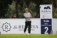 Soren Kjeldsen (DEN) tees off the 2nd tee during Saturday's rain delayed Round 2 of the Andalucia Valderrama Masters 2018 hosted by the Sergio Foundation, held at Real Golf de Valderrama, Sotogrande, San Roque, Spain. 20th October 2018.<br /> Picture: Eoin Clarke | Golffile<br /> <br /> <br /> All photos usage must carry mandatory copyright credit (&copy; Golffile | Eoin Clarke)