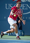 Stanislaus Wawrinka (SUI) loses in the semis to Novak Djokovic (SRB) 2-6, 7-6, 3-6, 6-3, 6-4 at the US Open being played at USTA Billie Jean King National Tennis Center in Flushing, NY on September 7, 2013