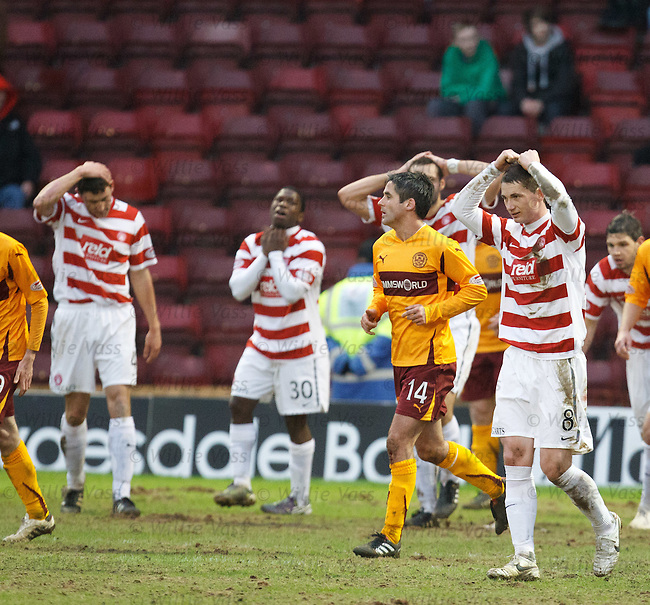 Hamilton players react after defeat to their near neighbours Motherwell