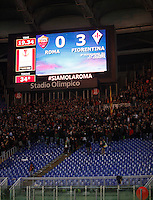 Calcio, Europa League: Ritorno degli ottavi di finale Roma vs Fiorentina. Roma, stadio Olimpico, 19 marzo 2015.<br /> Roma fans leave after Fiorentina scored for the first time during the Europa League round of 16 second leg football match between Roma and Fiorentina at Rome's Olympic stadium, 19 March 2015.<br /> UPDATE IMAGES PRESS/Isabella Bonotto