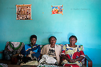 Tuyishime Penine Joie, Bazubafite Agnes, Ntiliyaga Marie Chantsi (L to R), participants of the computer training on ICT bus in Kabaya, Rwanda. (Photo by Tadej Znidarcic)