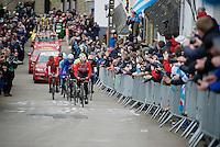 Thomas De Gendt (BEL/Lotto-Soudal) leads the breakaway up the famous Cote de Saint-Roche (1850m/6.3%)<br /> <br /> 102nd Li&egrave;ge-Bastogne-Li&egrave;ge 2016