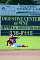 Batavia Muckdogs outfielder Ryan Aper (11) slides attempting to catch a fly ball during a game against the State College Spikes on June 29, 2013 at Dwyer Stadium in Batavia, New York.  Batavia defeated State College 3-1.  (Mike Janes/Four Seam Images)