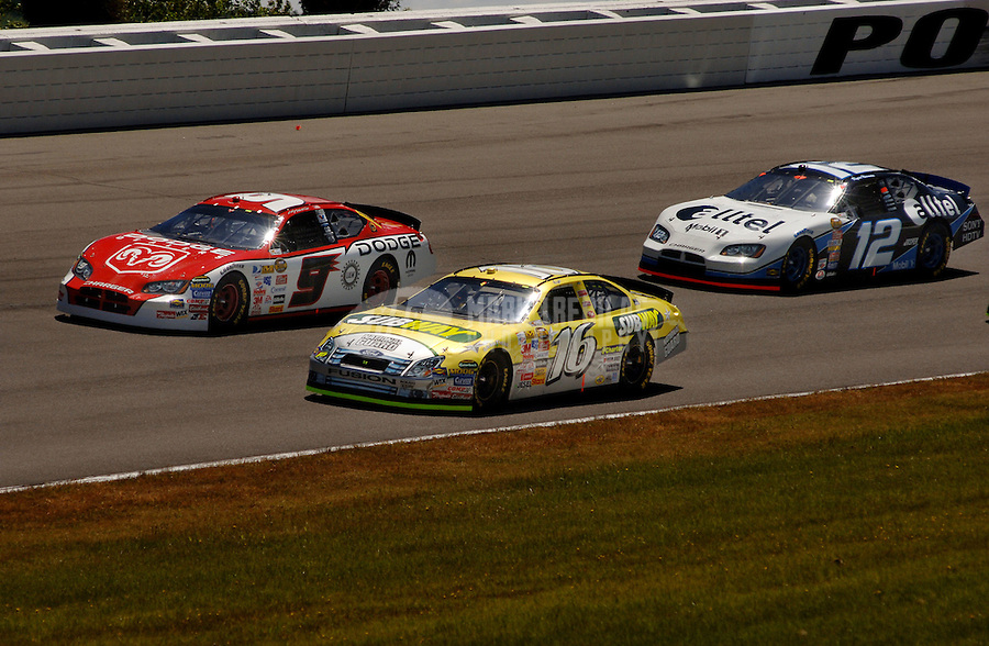June 11, 2006; Long Pond, PA, USA; Nascar Nextel Cup driver Greg Biffle (16) races Kasey Kahne (9) and Ryan Newman (12) during the Pocono 500 at Pocono Raceway. Mandatory Credit: Mark J. Rebilas