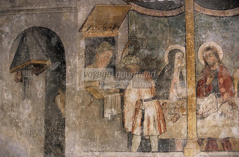 Europe/France/Rhône-Alpes/74/Haute-Savoie/Abondance: Abbaye d'Abondance - Peinture murale de 1430 Atelier Giacomo Gaquerio représentant les noces de Cana - Détail salaisons dans le fumoir