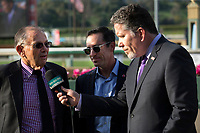 ARCADIA, CA  APRIL 7:  Trainer Bill Spawr is interviewed by Peter Lurie after his filly #3 Midnight Bisou wins the Santa Anita Oaks (Grade l) on April 7, 2018, at Santa Anita Park in Arcadia, Ca. (Photo by Casey Phillips/ Eclipse Sportswire/ Getty Images)