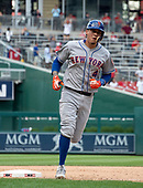 New York Mets third baseman Wilmer Flores (4) rounds third base after hitting a home run in the ninth inning against the Washington Nationals at Nationals Park in Washington, D.C. on Wednesday, August 1, 2018.  The Nationals won the game 5 - 3.<br /> Credit: Ron Sachs / CNP<br /> (RESTRICTION: NO New York or New Jersey Newspapers or newspapers within a 75 mile radius of New York City)
