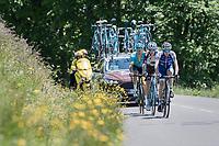 Daniel Martin (IRE/QuickStep Floors), Romain Bardet (FRA/AG2R-La Mondiale) & Jakob Fuglsang (DEN/Astana) up the Col de la Colombière<br /> <br /> 69th Critérium du Dauphiné 2017<br /> Stage 8: Albertville > Plateau de Solaison (115km)