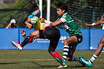 Guiyong Wang of China runs in a try, while Avishka Lee of Sri Lanka  tackles during the Asia Rugby U20 Sevens 2017 at King's Park Sports Ground on August 4, 2017 in Hong Kong, China. Photo by Yu Chun Christopher Wong / Power Sport Images