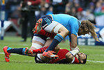 Joshua Furno of Italy floors Sean Lamont of Scotland - RBS 6Nations 2015 - Scotland  vs Italy - BT Murrayfield Stadium - Edinburgh - Scotland - 28th February 2015 - Picture Simon Bellis/Sportimage