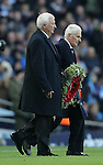 Former City players Mike Summerbee  and Tony Book carry out a wreath of poppies during the Premier League match at the Etihad Stadium, Manchester. Picture date: November 5th, 2016. Pic Simon Bellis/Sportimage
