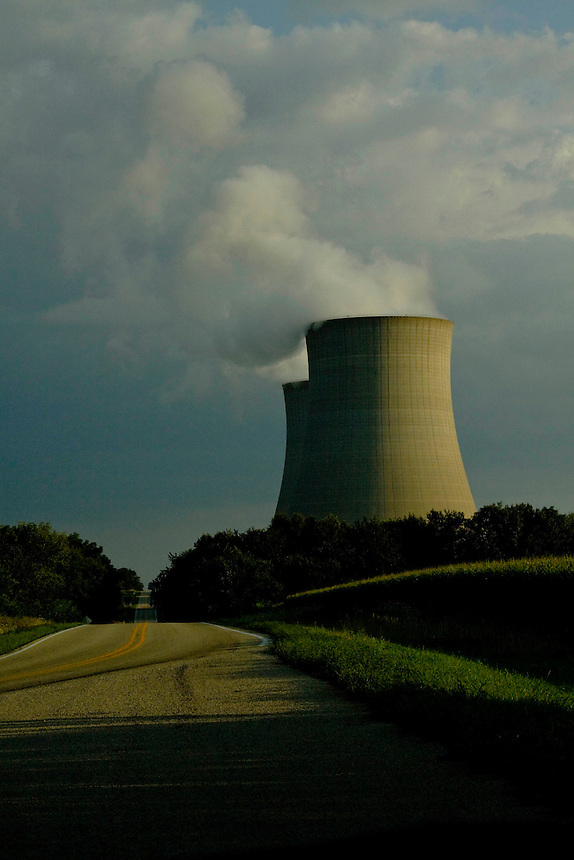 Nuclear power plant and cooling towers.
