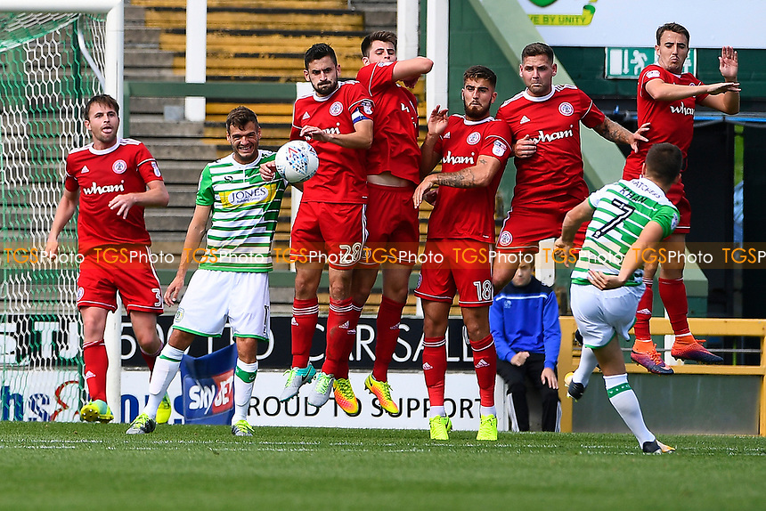 Otis Khan of Yeovil Town takes a free kick during Yeovil Town vs Accrington Stanley, Sky Bet EFL League 2 Football at Huish Park on 12th August 2017