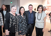 Megan Wanlass '94, Emy Wanlass and husband Ralph Wanlass '91 and Oxy Arts Director Meldia Yesayan<br /> Special guests, Trustees, alumni, faculty and staff gather for the dedication reception for Occidental College's newly opened Oxy Arts building on York Boulevard on Oct. 3, 2019. Oxy Arts is Oxy's community art center located in Highland Park, one block south of campus.<br /> (Photo by Marc Campos, Occidental College Photographer)