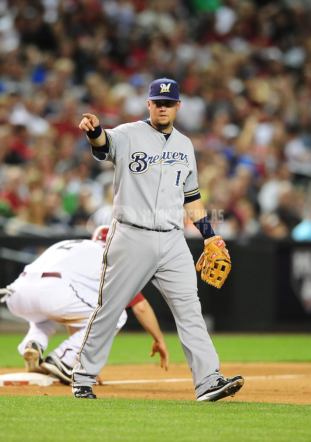 May 7, 2010; Phoenix, AZ, USA; Milwaukee Brewers infielder (14) Casey McGehee against the Arizona Diamondbacks at Chase Field. The Brewers defeated the Diamondbacks 3-2. Mandatory Credit: Mark J. Rebilas-