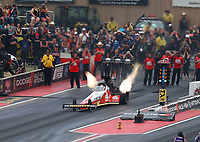 Jul 21, 2018; Morrison, CO, USA; NHRA top fuel driver Doug Kalitta during qualifying for the Mile High Nationals at Bandimere Speedway. Mandatory Credit: Mark J. Rebilas-USA TODAY Sports