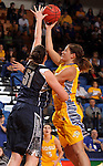 BROOKINGS, SD - NOVEMBER 15:  Megan Stuart #3 from South Dakota State University shoots over Natalie Butler #51 from Georgetown in the first half of their game Friday night at Frost Arena. (Photo by Dave Eggen/Inertia)