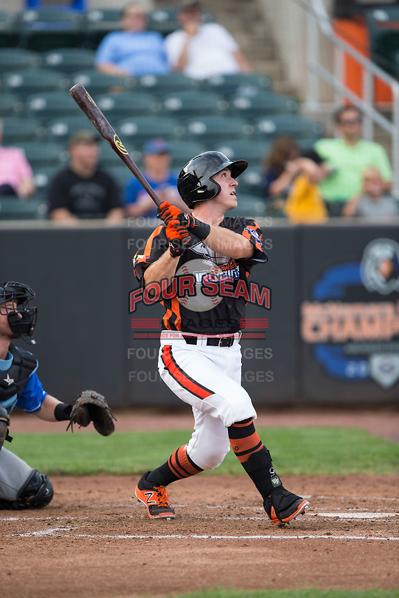 Ben Breazeale (39) of the Aberdeen IronBirds follows through on his swing against the Hudson Valley Renegades at Leidos Field at Ripken Stadium on July 27, 2017 in Aberdeen, Maryland.  The Renegades defeated the IronBirds 2-0 in game one of a double-header.  (Brian Westerholt/Four Seam Images)