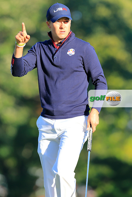 Jordan Spieth US Team sinks his putt on the 3rd green during Saturday Morning Foursomes Matches of the 41st Ryder Cup, held at Hazeltine National Golf Club, Chaska, Minnesota, USA. 1st October 2016.<br /> Picture: Eoin Clarke | Golffile<br /> <br /> <br /> All photos usage must carry mandatory copyright credit (&copy; Golffile | Eoin Clarke)