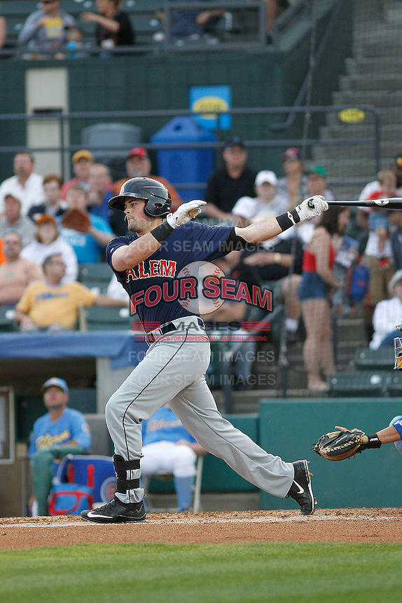 Salem Red Sox infielder Jordan Betts (41) at bat during a game against the Myrtle Beach Pelicans at Ticketreturn.com Field at Pelicans Ballpark on May 5, 2015 in Myrtle Beach, South Carolina.  Myrtle Beach defeated Salem  5-2. (Robert Gurganus/Four Seam Images)
