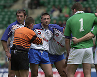 25/05/2002 (Saturday).Sport -Rugby Union - London Sevens.Ireland vs Russia.Russian front row[Mandatory Credit, Peter Spurier/ Intersport Images].