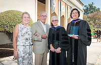 From left, Linda and Tod White '59 and the 2015 recipients of the Tod and Linda White Teaching Prize, biology professor Gretchen North and Spanish and French studies professor Felisa Guillén, presented during Convocation, Aug. 26, 2015.<br />