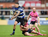 Matt Banahan of Bath Rugby offloads the ball. Anglo-Welsh Cup Final, between Bath Rugby and Exeter Chiefs on March 30, 2018 at Kingsholm Stadium in Gloucester, England. Photo by: Patrick Khachfe / Onside Images