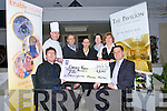 CHEQUE: On Friday morning in Ballyhgarry House Hotel & Spa, Tralee the staff and management presented a cheque of €1,200 to Sean Scally Enable Ireland, the money was raised on Bridal Recognitation Day in November 2011 at Ballygarry House Hotel & Spa, Tralee. L-r:Sean Galy, Dave Baitson, Nicole Nix, Marie O'Mahny, Marieanne Barron, Bríd O'Donnell and Thys Vogels.....