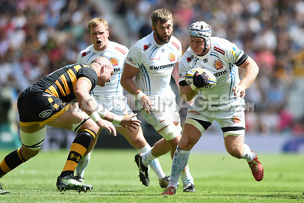 Thomas Waldrom of Exeter Chiefs in possession. Aviva Premiership Final, between Wasps and Exeter Chiefs on May 27, 2017 at Twickenham Stadium in London, England. Photo by: Patrick Khachfe / JMP