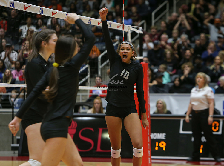 Rouse Raiders senior Dani Cole (10) celebrates a point during the Class 5A high school volleyball state final between Rouse High School and Prosper High School at Curtis Culwell Center in Garland, Texas, on November 18, 2017. Prosper won the match in five sets, (25-18, 21-25, 18-25, 25, 23, 16-14) to win the 5A state championship.