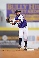 Binghamton Rumble Ponies second baseman Luis Guillorme (3) throws to first base during a game against the Akron RubberDucks on May 12, 2017 at NYSEG Stadium in Binghamton, New York.  Akron defeated Binghamton 5-1.  (Mike Janes/Four Seam Images)